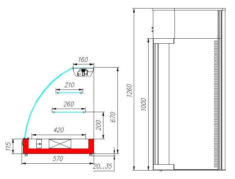 Витрина холодильная настольная ВХС-1,2 Арго XL (INOX)