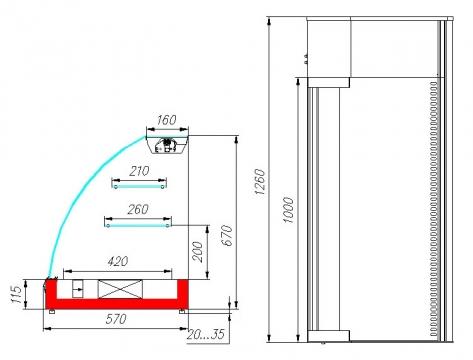 Витрина холодильная настольная ВХС-1,2 Арго XL (black&steel)